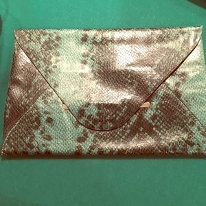 Green Faux Snakeskin Envelope Evening Bag